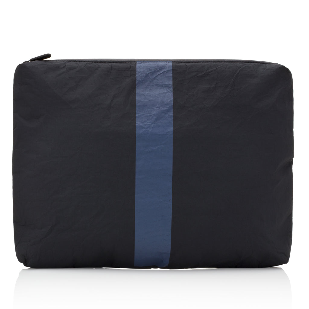 Attache Case / Computer Pack Padded - Black with a Single Navy Line