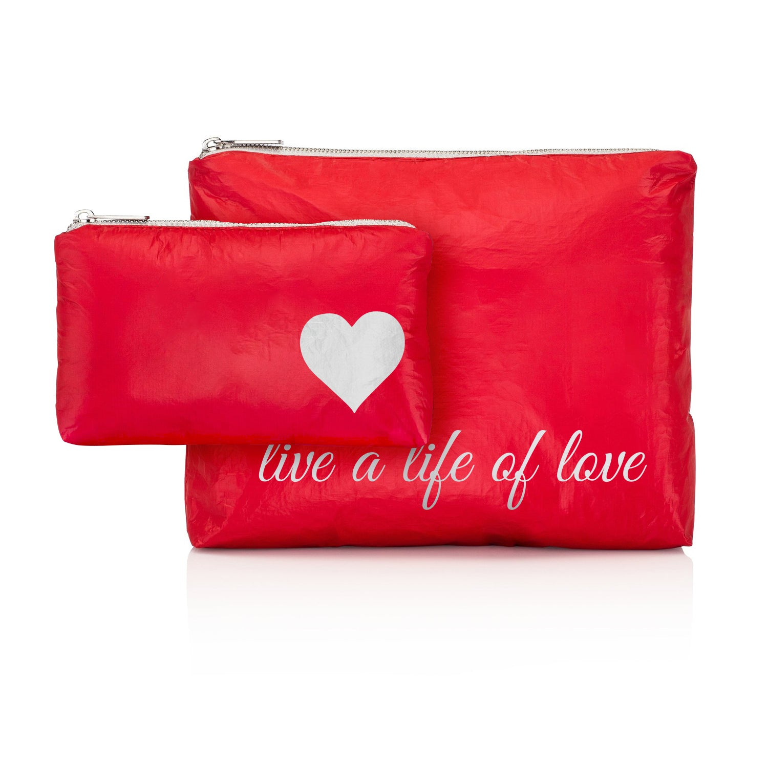 "Set of Two - Chili Pepper Red with Silver ""Live a Life of Love"""