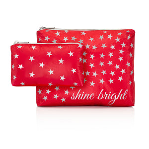 "Christmas Cosmetic Bag - Make Up Pouch - Set of Two - Chili Pepper Red with Silver ""Shine Bright"""
