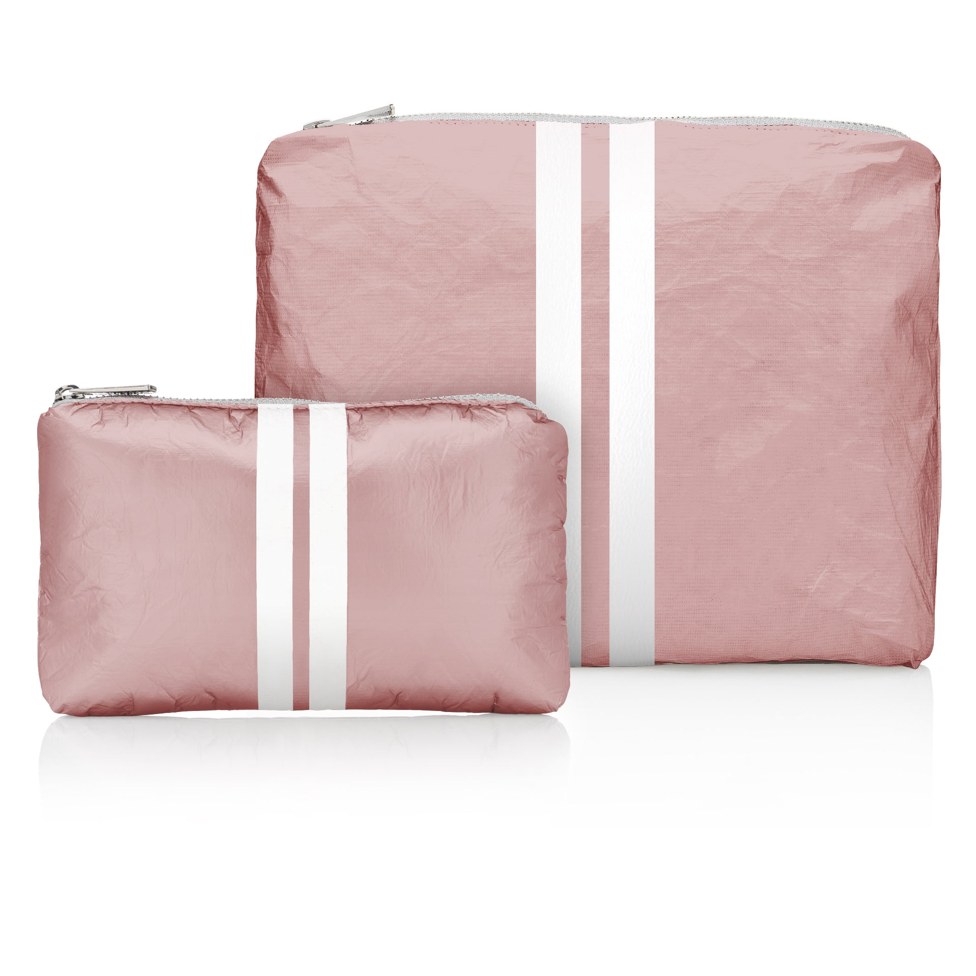 Set of Two - Shimmering Pink Sands with White Stripes