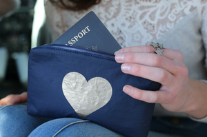 Set of Two Packs - Navy with Metallic Silver Heart