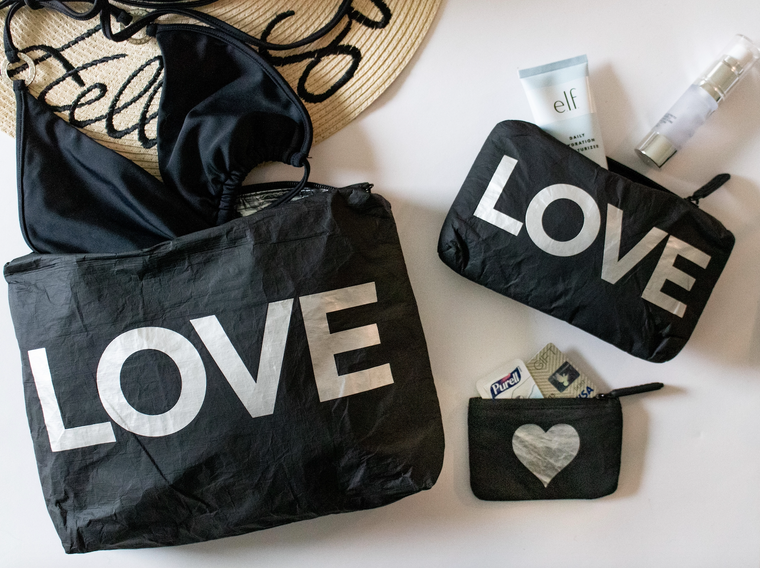 "Set of Three Packs- Black with Metallic Silver ""LOVE"" & Heart"