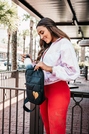 Crossbody Fashion - Gym Bag - Travel Backpack - Puffer Crossbody Backpack - Black with Metallic Gold Heart