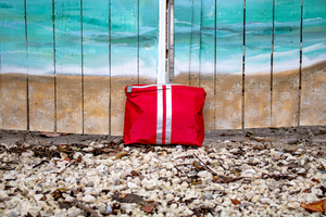 Holiday Makeup Bag - Travel Pouch - Cosmetic Case - Hi Love Medium Pack - Chili Pepper Red with Metallic Silver Stripes