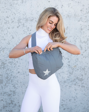 Cute Gym Backpack Hi Love Motivate to Move Set - Cool Gray Crossbody with Metallic Silver Fanny Pack