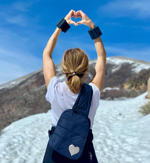 Crossbody Fashion - Gym Bag - Travel Backpack - Puffer Crossbody Backpack - Navy with Metallic Silver Heart
