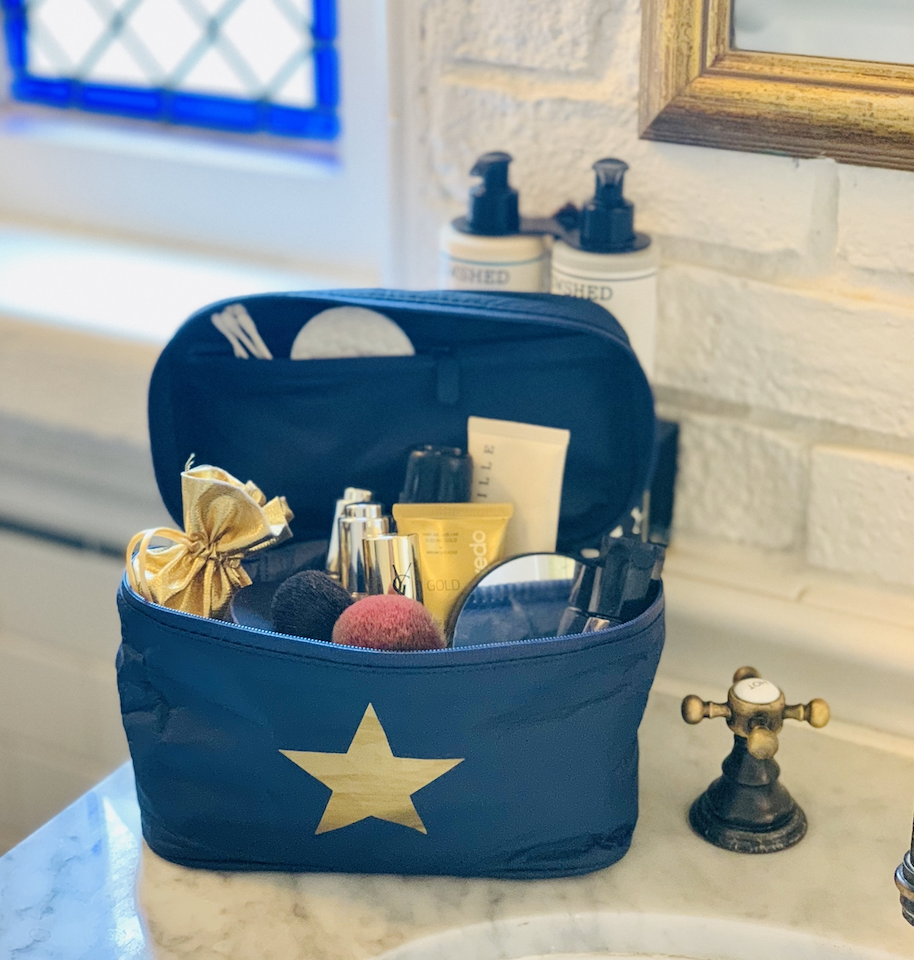 Travel Set - Mini Clutch - Navy Gold Star Cosmetic Case and Mini Gold Pack