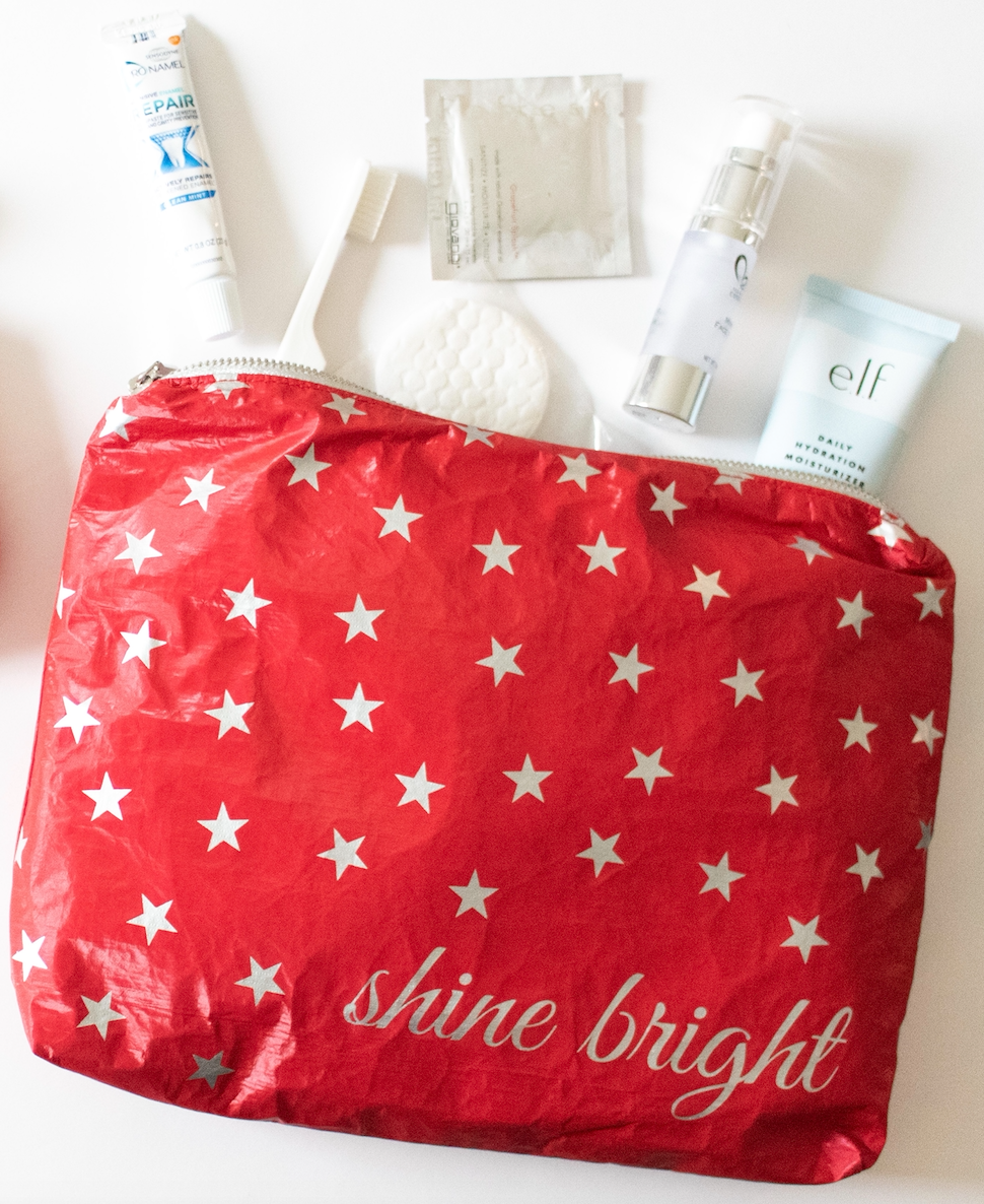 "Holiday Makeup Bag - Travel Pouch - Cosmetic Case - Hi Love Medium Pack - Chili Pepper Red ""Shine Bright"""