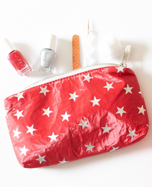 Holiday Clutch - Makeup Pouch - Mini Padded Pack - Chili Pepper Red with Myriad Silver Stars