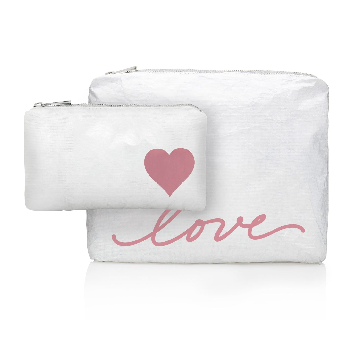 "Makeup Pouch - Travel Pack - Beach Bag - Set of Two - Shimmer White with Pink Script ""love"""