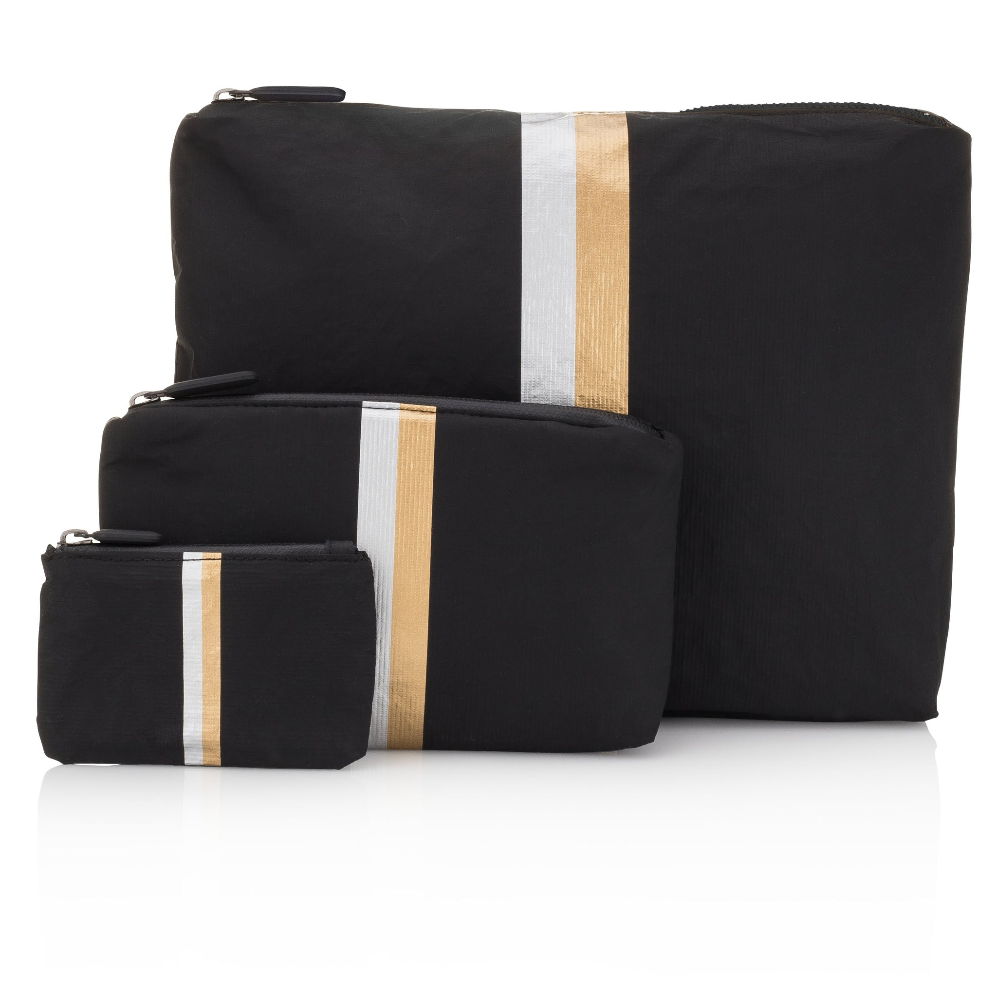 Travel Bag Set - Set of Three Packs - Hi Love Black with Metallic Silver and Gold Stripes