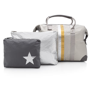Silver splash-resistant travel bag set with weekender carry-on