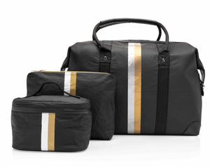 Carry-On Hi Love Cute Travel Bag Set - The Weekender Set - Black with Metallic Silver and Gold Stripes