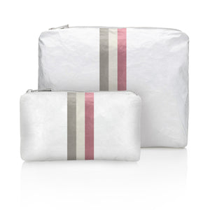 Set of Two - Shimmer White with Fairy Pink Stripes