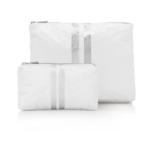 Set of Two Packs - White with Metallic Silver Stripes