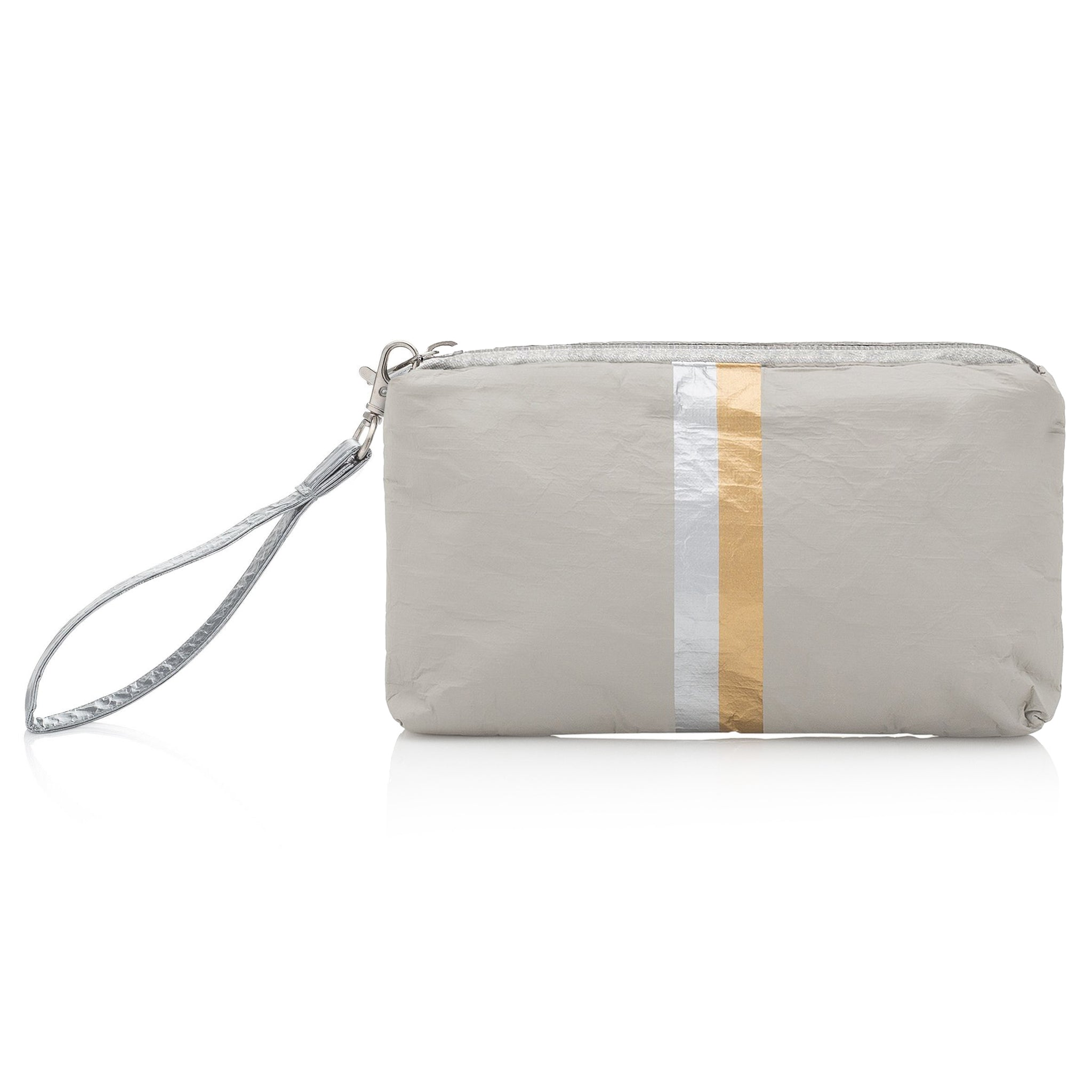 Wristlet - Earth Gray with Silver and Gold Stripes