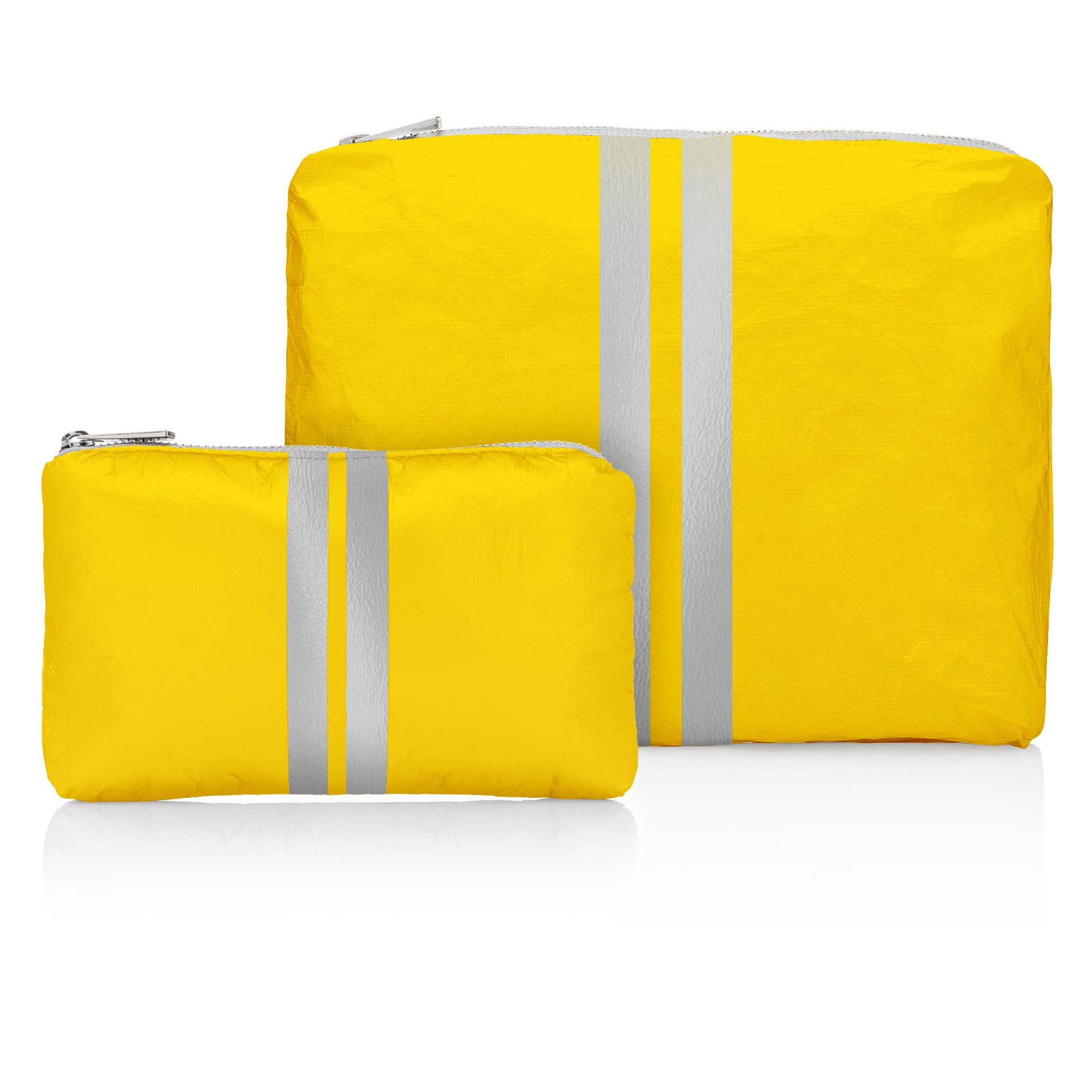 Cute Travel Pouch Set - Set of Two - Island Sunshine with Metallic Silver Stripes