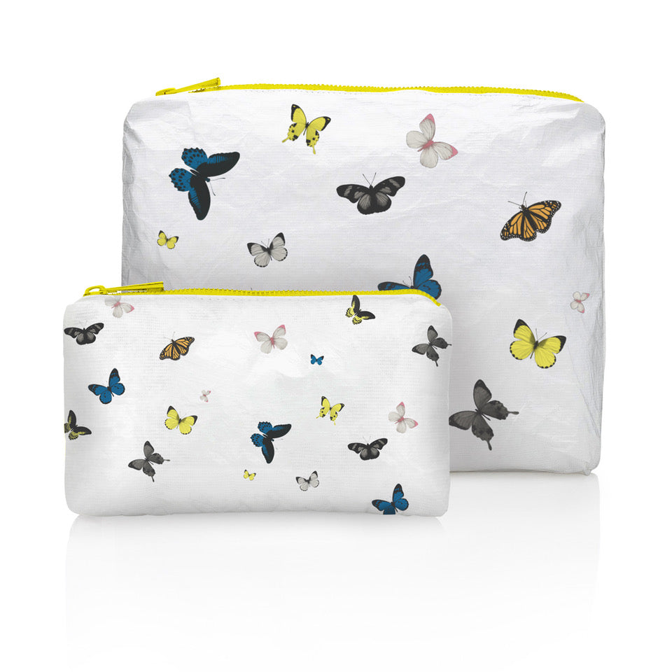 Butterfly Bag - Butterfly Purse - Travel Pack - Set of Two - Butterflies in Flight on White