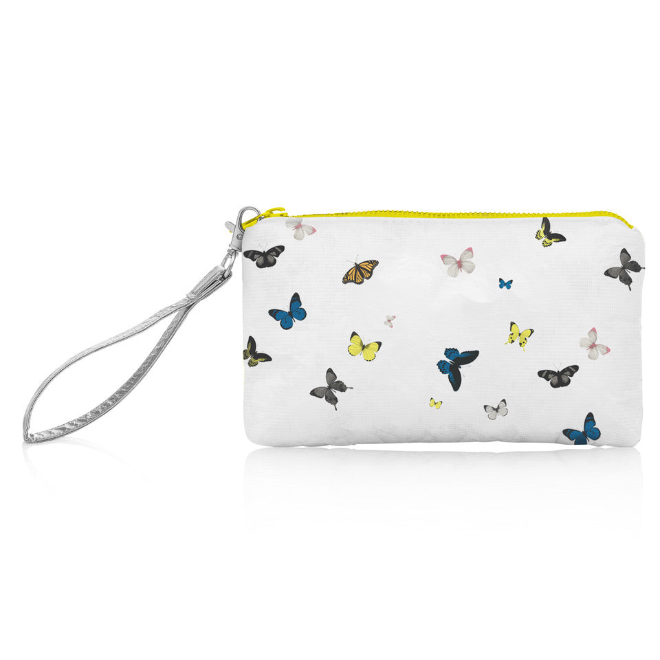Wristlet - Butterflies in Flight on White