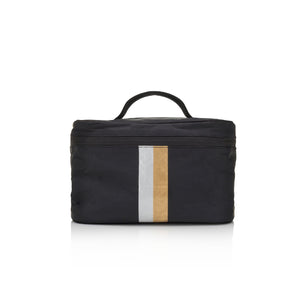 Hi Love Cute Cosmetic Case - Lunch Box - Black with Metallic Silver and Gold Stripes