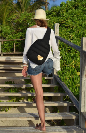 Cute Crossbody Fashion - Crossbody Backpack - Black with a Metallic Gold Heart