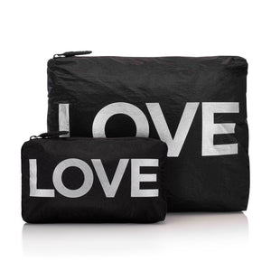 "Set of Two Packs- Black with Metallic Silver ""LOVE"""