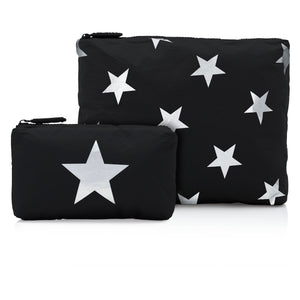 Set of Two Packs - Black with Multi Silver Stars
