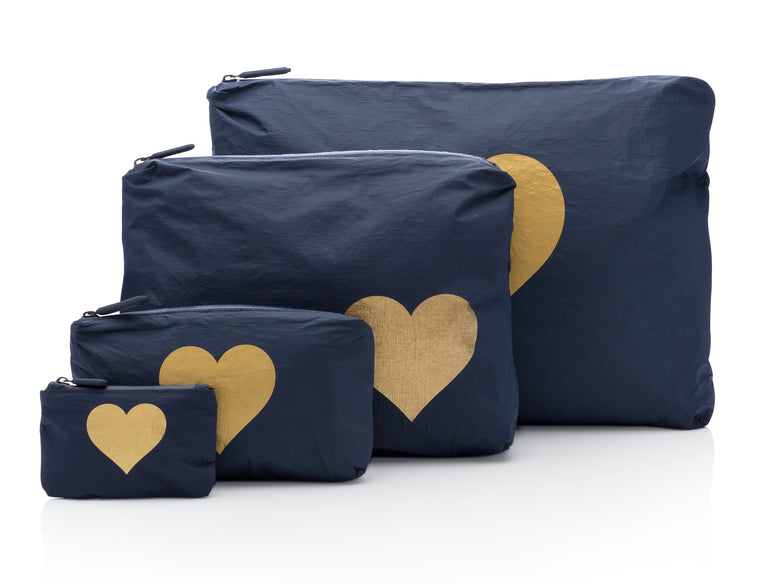 Four Piece Set - Navy HLT Collection with a Metallic Gold Heart