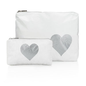 Set of Two - White with Silver Heart