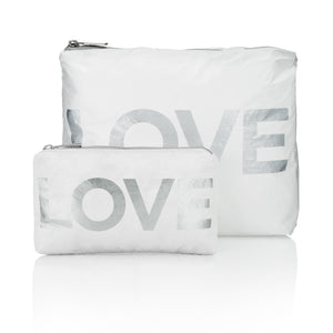 "Set of Two Packs - White with Metallic Silver ""LOVE"""