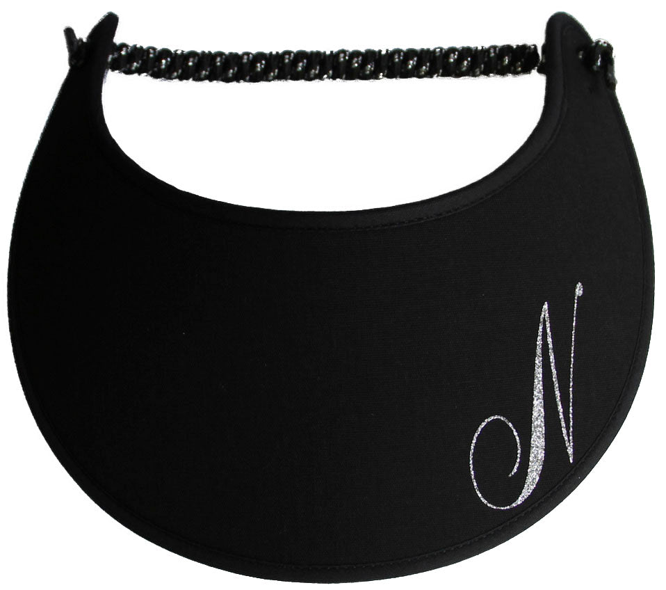 Foam sun visor with a sparkly initial N.