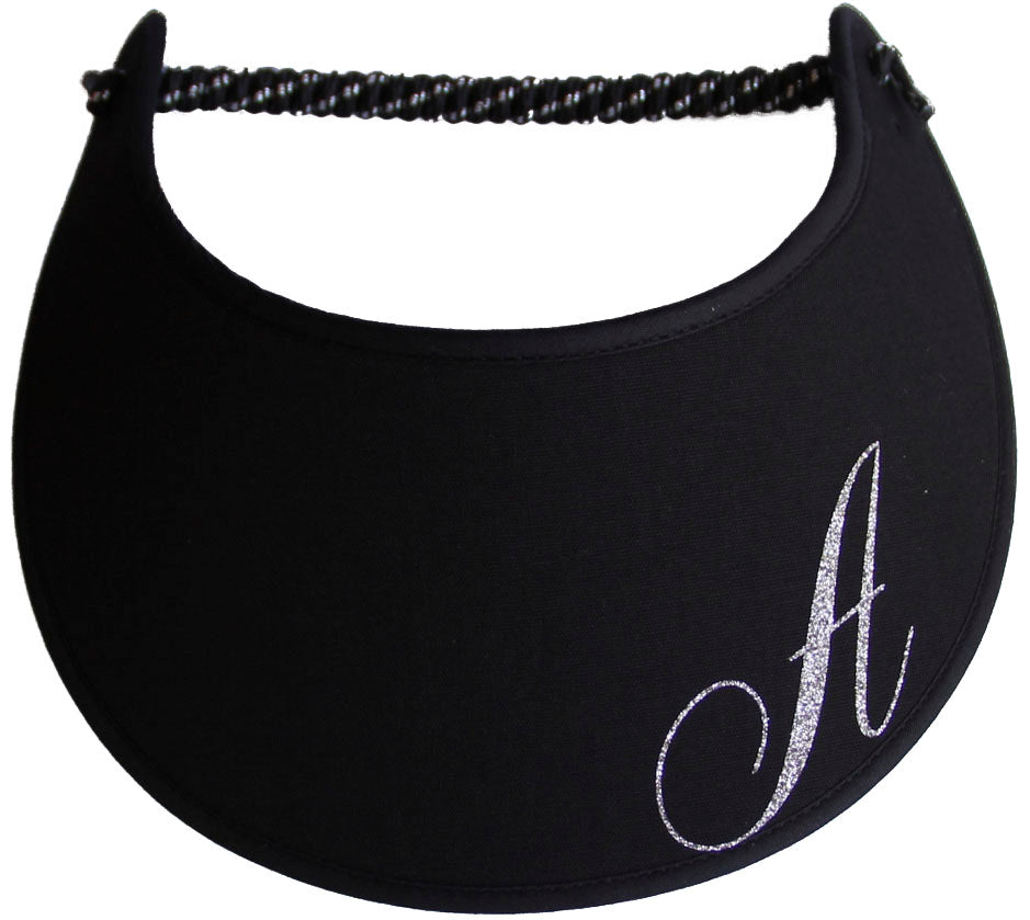 Foam sun visor with a sparkly initial A.
