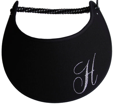 Foam sun visor with a sparkly initial H.