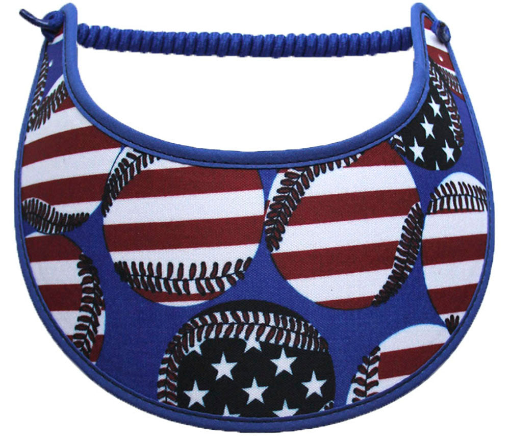 Ladies foam visor with patriotic baseballs.