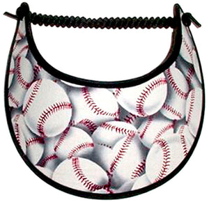 Ladies foam visor with baseball design in a generic color.