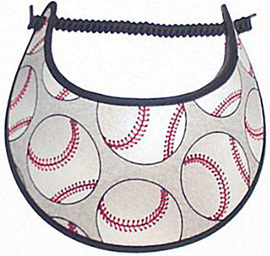 Ladies foam visor with baseballs on gray.