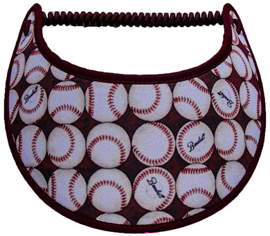 Ladies foam visor with rows of baseballs on burgundy