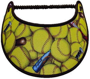 Ladies foam visor with softballs and colored bats