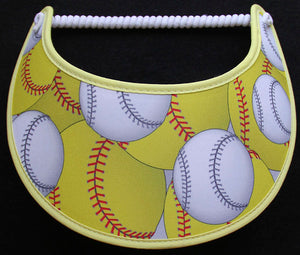 Ladies foam visor with softballs.