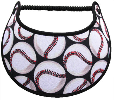 Ladies foam visor with large baseballs on black