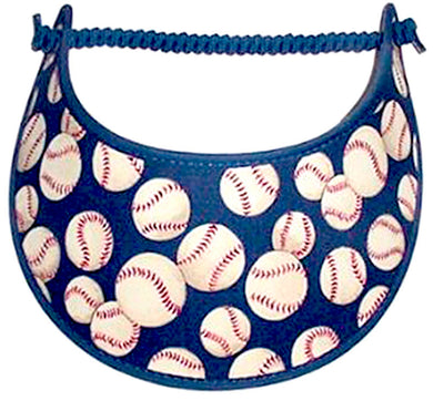 Ladies foam sun visor with baseballs on blue.