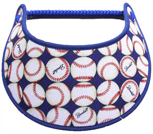 Ladies foam visor with rows of baseballs on royal