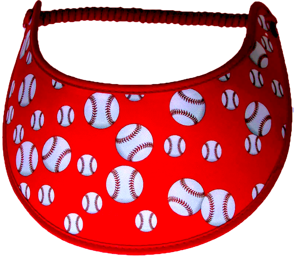 Foam sun visor with baseballs on red