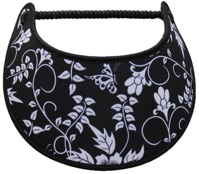 Foam sun visor with white flowers, leaves & butterfly on black