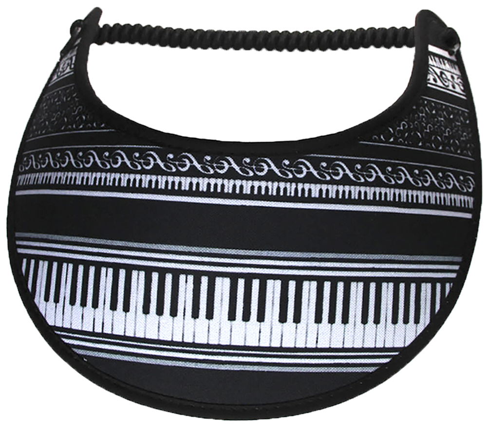 Foam sun visor with piano keyboard on black