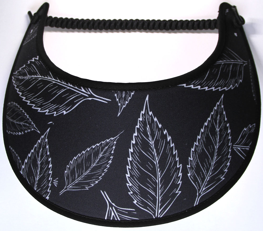 Foam sun visor with leaf design on black