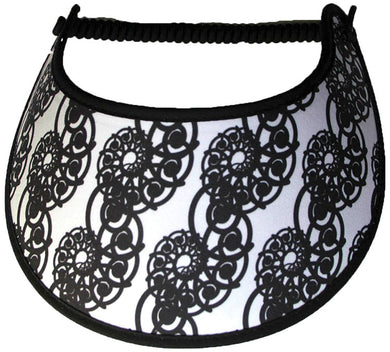 Foam sun visor with lacy spirals on white