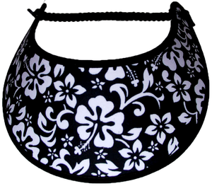 Foam sun visor with hibiscus & other flowers on black: