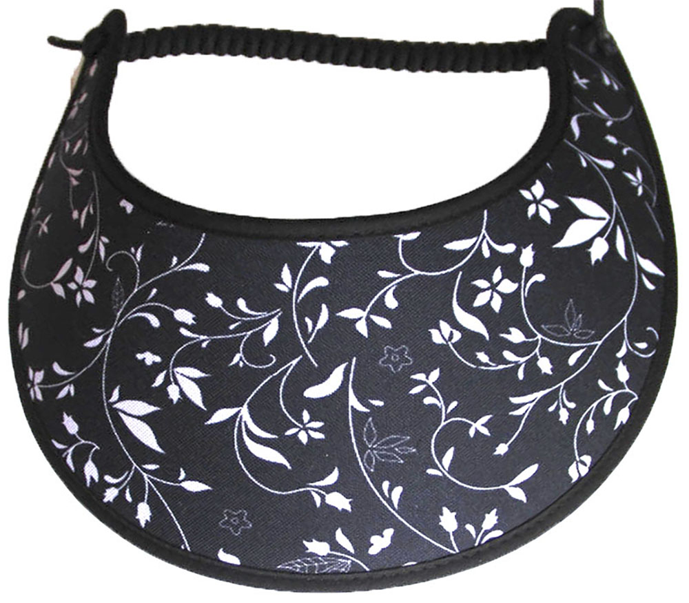 Foam sun visor with small flowers & vines on black