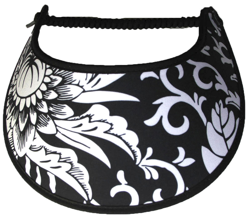 Foam sun visor with a large whit flower and leaves on black